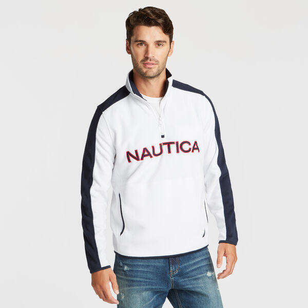 QUARTER ZIP LOGO NAUTEX FLEECE PULLOVER - Bright White