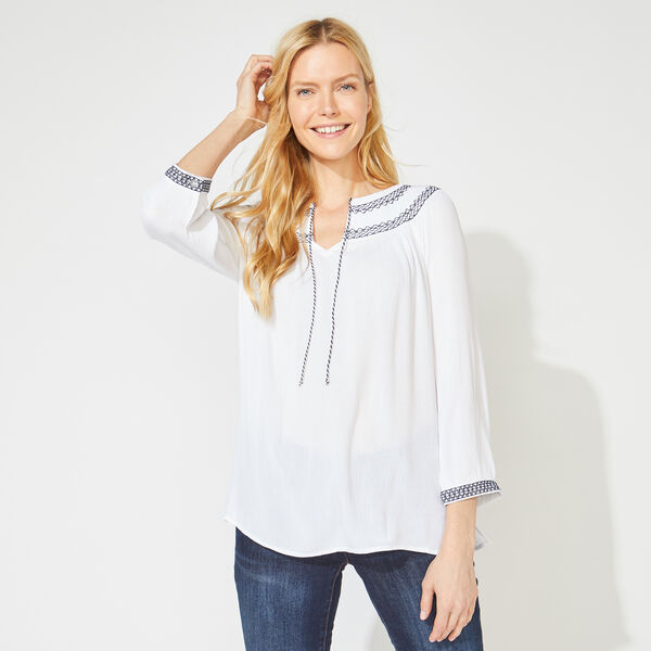 THREE-QUARTER SLEEVE EMBROIDERED TOP - Bright White