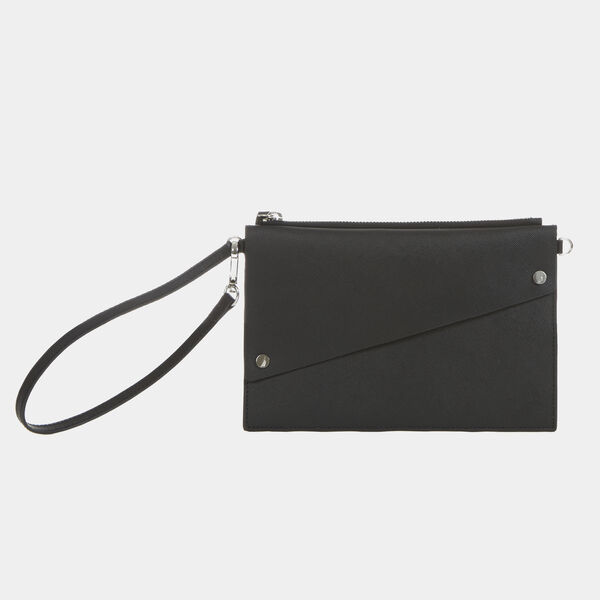 Saffiano Leather Wristlet Pouch - Black