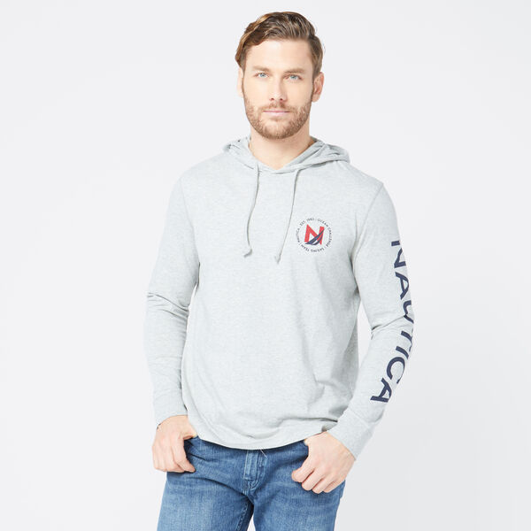 LOGO GRAPHIC T-SHIRT HOODIE - Grey Heather