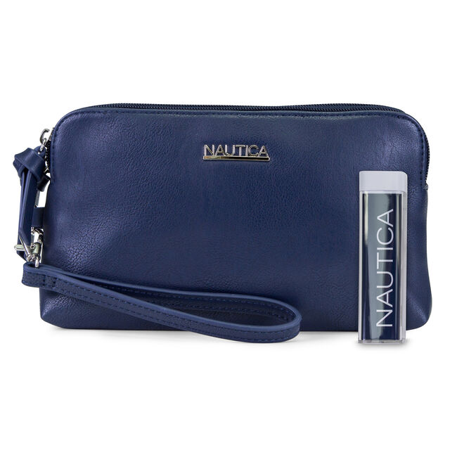 Power Sailing Wristlet with Battery Charger,Navy,large
