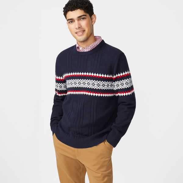 CLASSIC FIT FAIR ISLE PRINT KNIT SWEATER - Navy