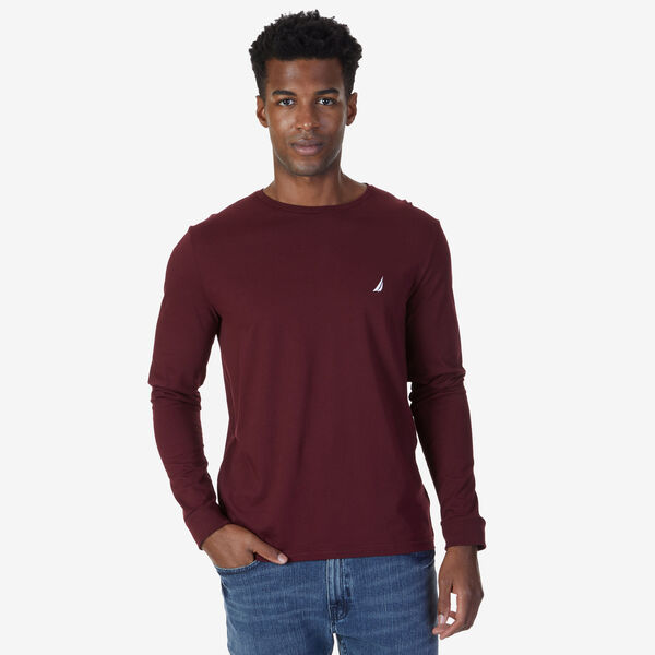 CREW NECK LONG SLEEVE TEE - Royal Burgundy