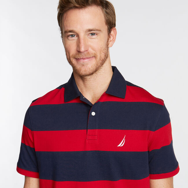 Stripe Classic Fit Polo,Navy,large