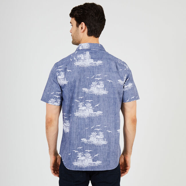 Tropical Island Classic Fit Button Down,Monaco Blue,large