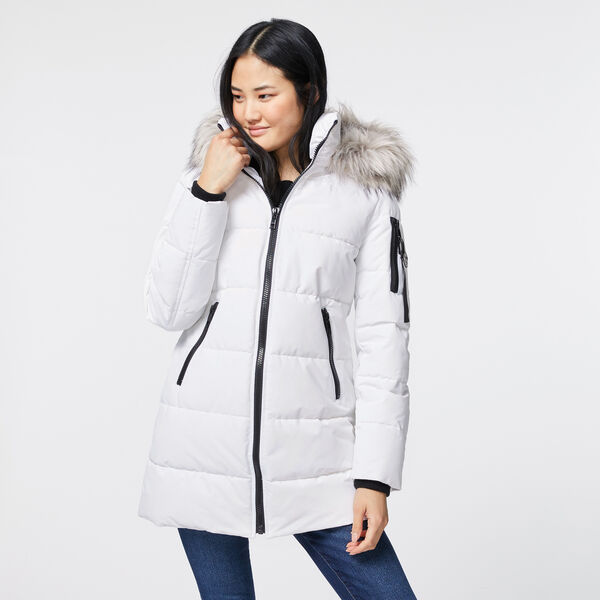 FAUX FUR TRIM HOODED PUFFER COAT - Bright White