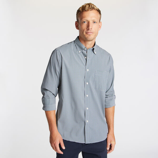 Classic Fit Non-Iron Performance Twill Shirt in Green Plaid - Sea Glass Aqua