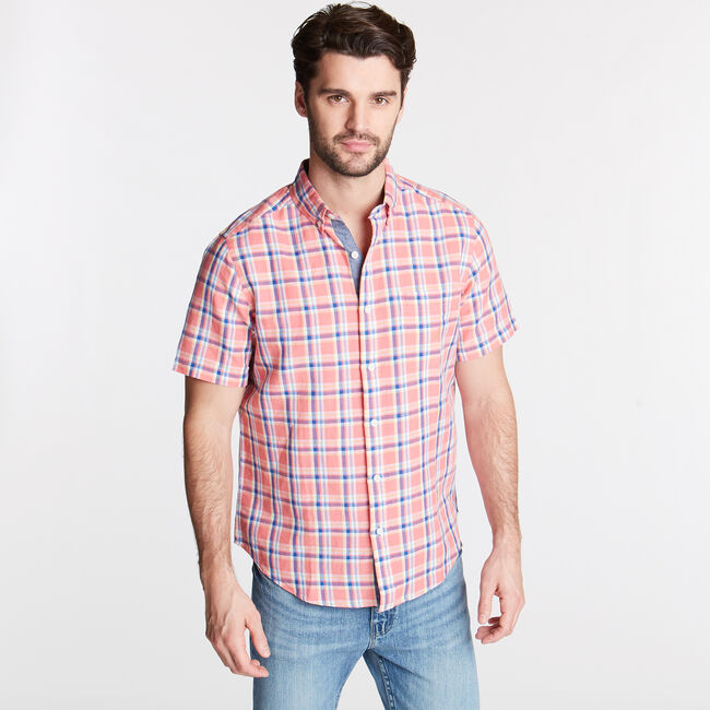 Short Sleeve Classic Fit Shirt in Plaid,Coral Dream,large