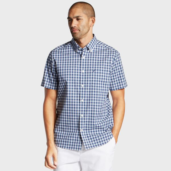 Big & Tall Short Sleeve Classic Fit Stretch Poplin Shirt - Blue Depths