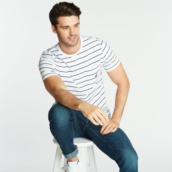 CLASSIC STRIPE CREWNECK POCKET T-SHIRT - Bright White