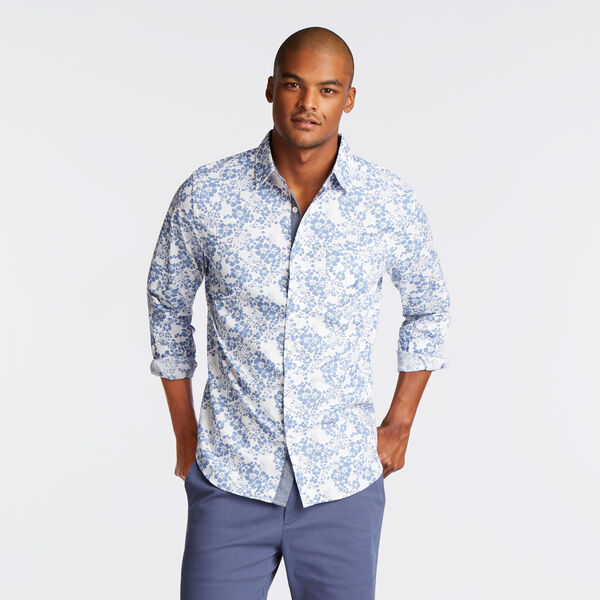 CLASSIC FIT SHIRT IN BLUE MINI FLORAL PRINT - Cosmic Cobalt
