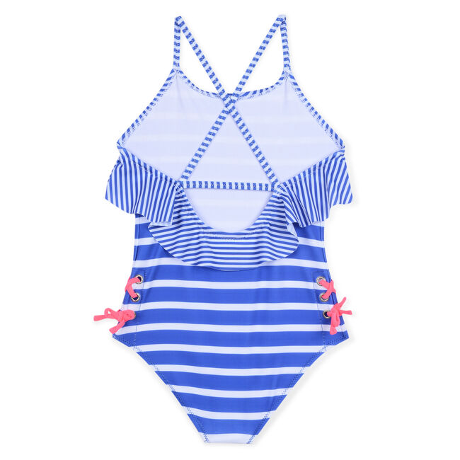 Girls' One-Piece Swimsuit in Mixed Stripe,Blue Stern,large