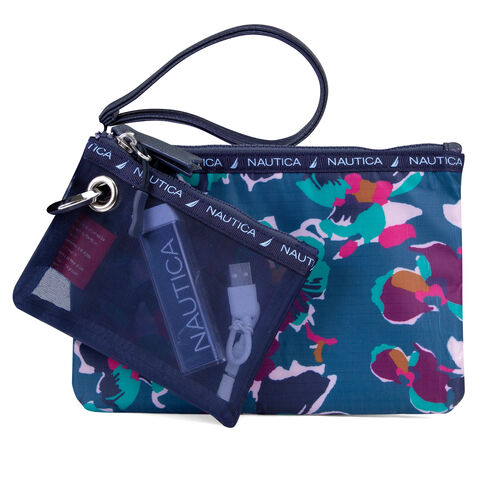 Captain's Quarters 2-Piece Wristlet with Battery Charger - Floating Floral - Majestic Purple