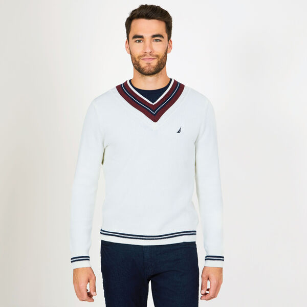 CABLE-TIPPED V-NECK SWEATER - Marshmallow