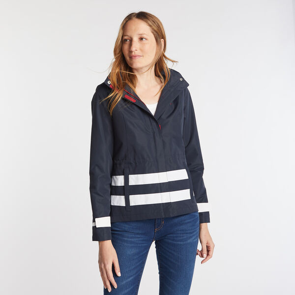 WOMEN'S STRIPE COLOR BLOCK JCLASS JACKET IN NAVY SEAS - Stellar Blue Heather