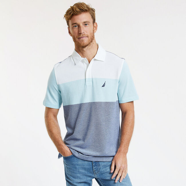 Short Sleeve Classic Fit Tri-Block Polo ,Bright White,large