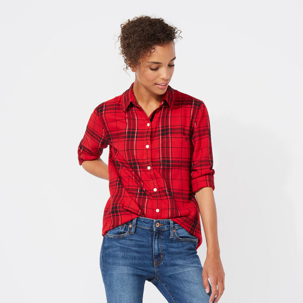 NAUCTICA JEANS CO. LONG SLEEVE TIFFANY PLAID BOYFRIEND SHIRT - Cranberry