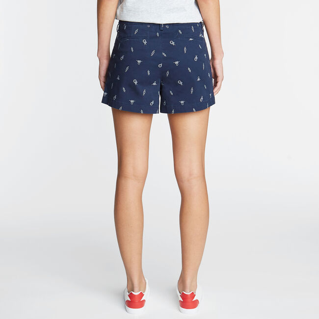 CLASSIC FIT TWILL SHORT IN ROPE PRINT,Stellar Blue Heather,large