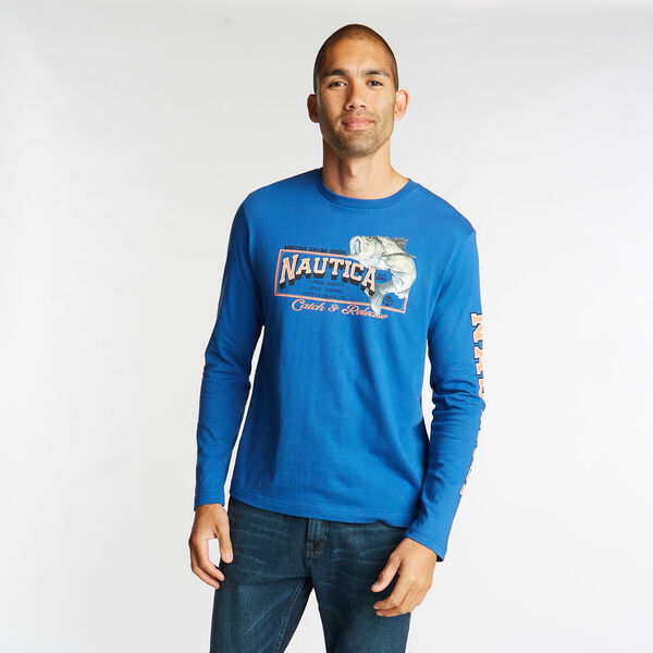 LONG SLEEVE JERSEY T-SHIRT IN CATCH & RELEASE GRAPHIC - Lake Mist