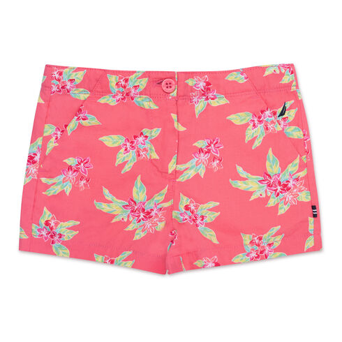 Girls' Tropical Flower Shorts (7-16) - Firey Red