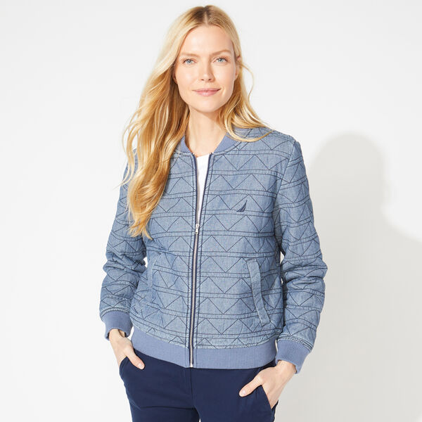 QUILTED CHAMBRAY BOMBER JACKET - Star Turquoise