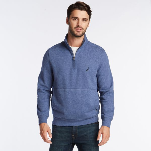 SUEDED FLEECE QUARTER ZIP PULLOVER - Blue Indigo Heather