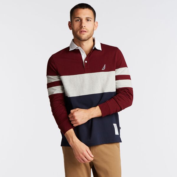 LONG SLEEVE COLORBLOCK STRIPE RUGBY - Royal Burgundy