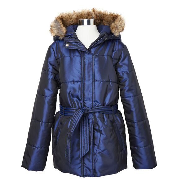 Girls' Faux Fur Hooded Coat (8-16) - Navy