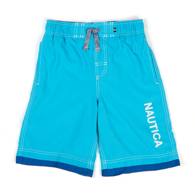 Toddler Boys' Signature Swim Trunks With Con Flange (2T-4T),Washed Blue,large