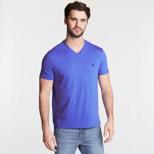 V-Neck Short Sleeve T-Shirt - Cobalt Wave