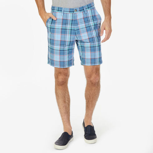 "Roadmap Plaid Classic Fit Walking Shorts - 8.5"" Inseam - Washed Navy Heather"