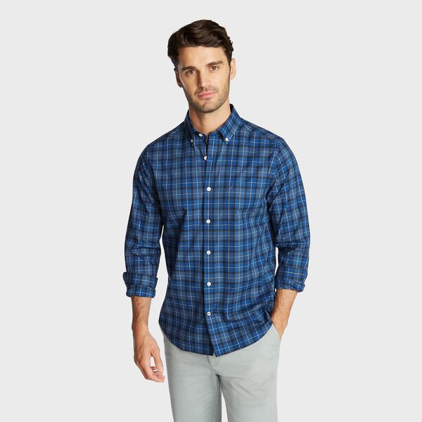 CLASSIC FIT WRINKLE RESISTANT SHIRT IN DEEP PLAID - Ensign Blue
