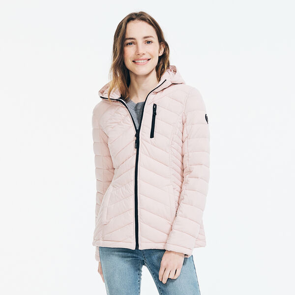 WATER-RESISTANT PACKABLE STRETCH HOODED COAT - Light Purple