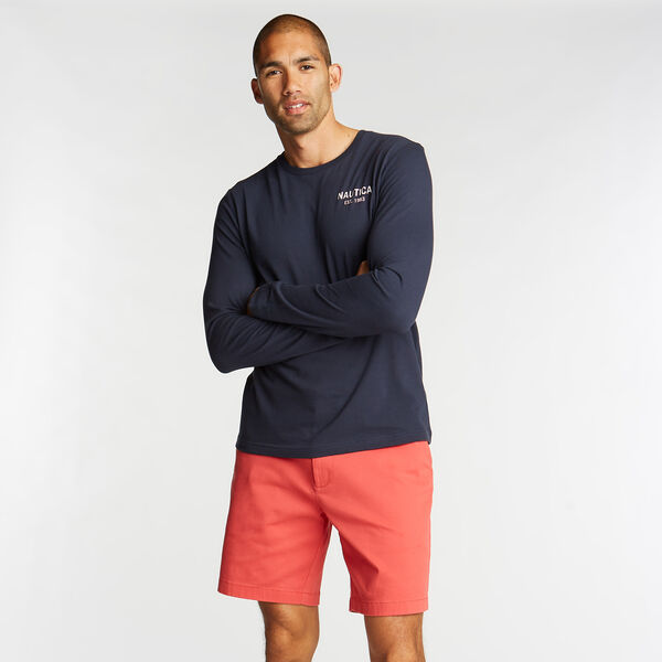 LONG SLEEVE JERSEY T-SHIRT IN NAUTICA APPLIQUÉ - Pure Dark Pacific Wash