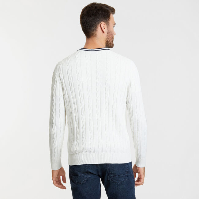 The Varsity Cable-Knit V-Neck Sweater,Wheat Flax,large
