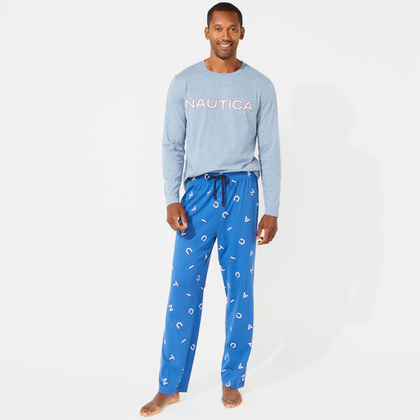 SLIM FIT NAUTICA LOGO LONG SLEEVE AND KNIT PANTS PAJAMA SET - Anchor Blue Heather
