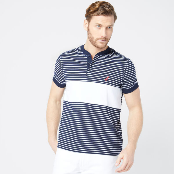 CLASSIC FIT STRIPE HENLEY - Pure Dark Pacific Wash