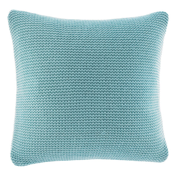 Bell Point Aqua Knit Throw Pillow - South Beach Aqua