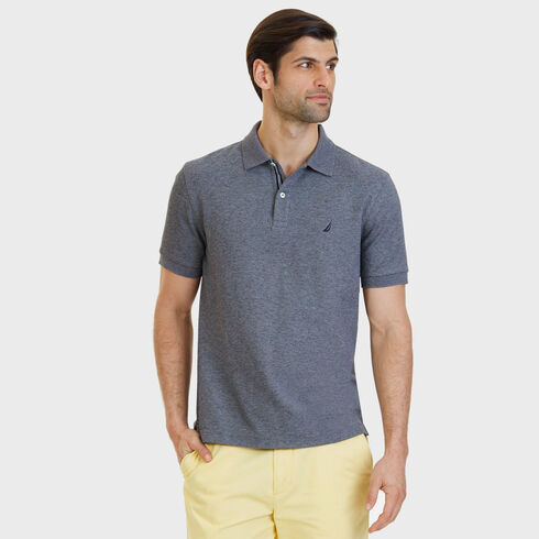 Big & Tall Performance Classic Fit Deck Polo - Charcoal Hthr