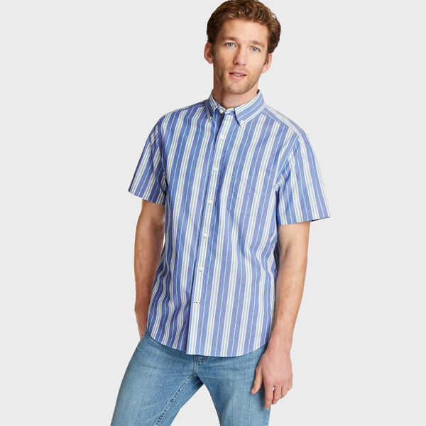 Classic Fit Short Sleeve Poplin Shirt in Stripe - Bluefish