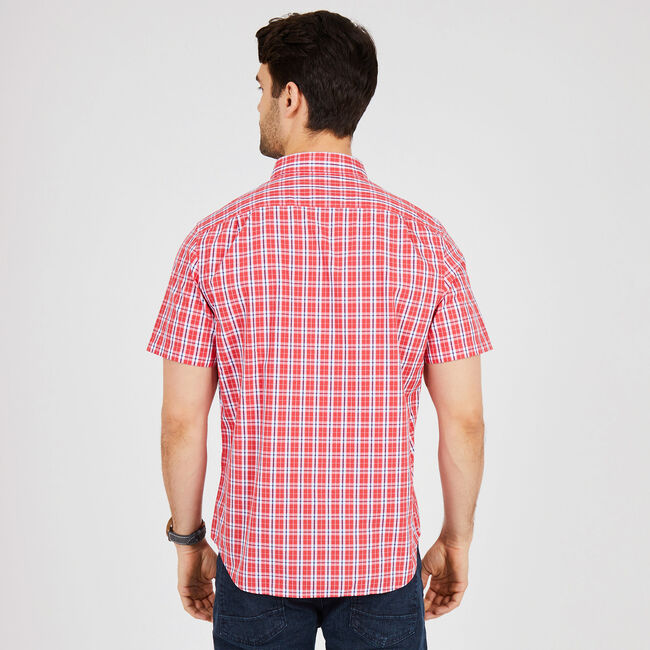 Short Sleeve Classic Fit Plaid Button Down,Buoy Red,large