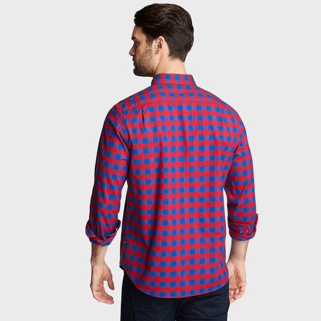 CLASSIC FIT OXFORD SHIRT IN LARGE GINGHAM,Nautica Red,large