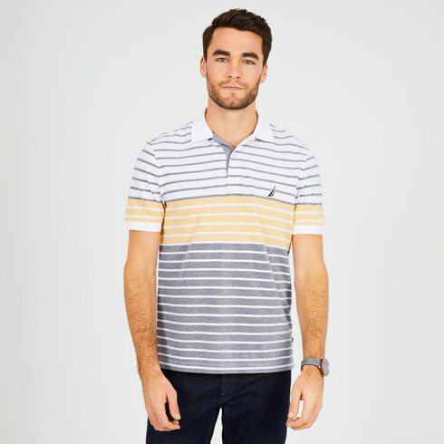 Striped Classic Fit Short Sleeve Polo - Sunfish