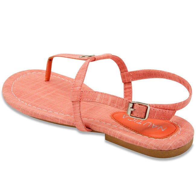 Above Deck Linen T-Strap Sandals,Flame Red,large