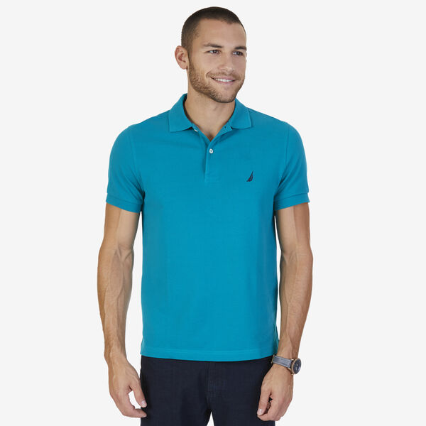 SLIM FIT MESH POLO - Dark Dill