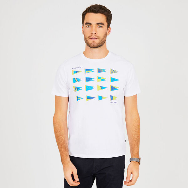Short Sleeve Heritage Sail Flags T-Shirt - Bright White