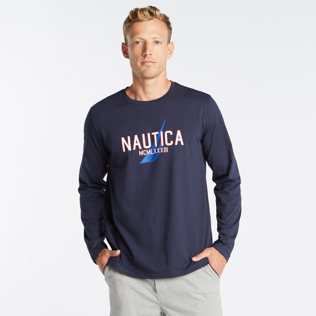 CLASSIC FIT LONG SLEEVE MCMLXXXIII GRAPHIC SLEEP SHIRT,Navy,large