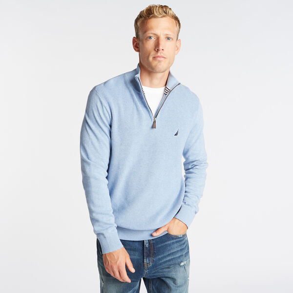 QUARTER ZIP RIBBED FRONT SWEATER - Charcoal Blue Heather