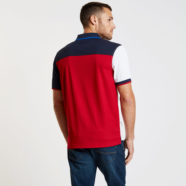 Vertical Stripe Short Sleeve Classic Fit Tech Polo,Nautica Red,large