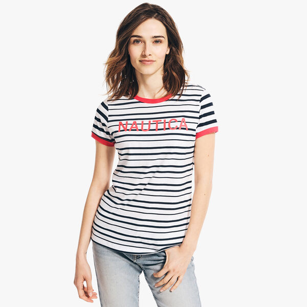 STRIPED LOGO GRAPHIC T-SHIRT - Cradle Pink
